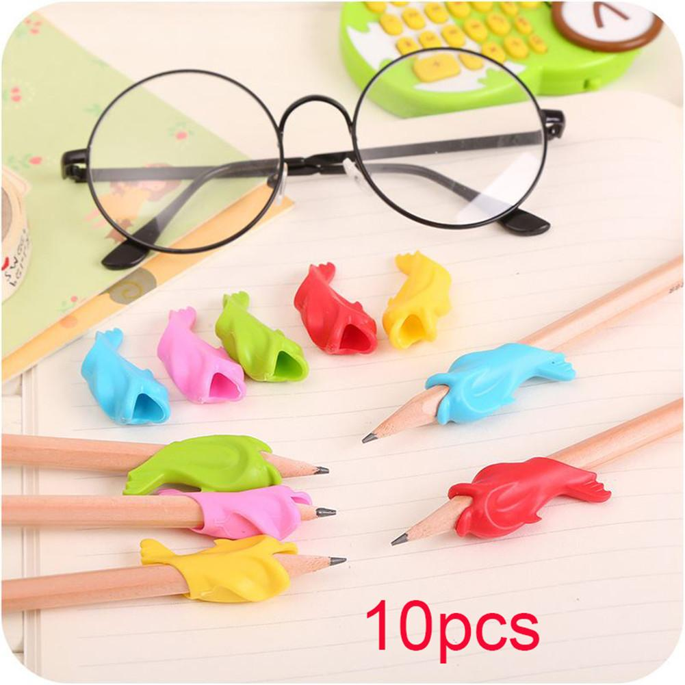 10Pcs Pen Pencil Control Handwriting Dolphin Aid Right Handed Grip For Kids