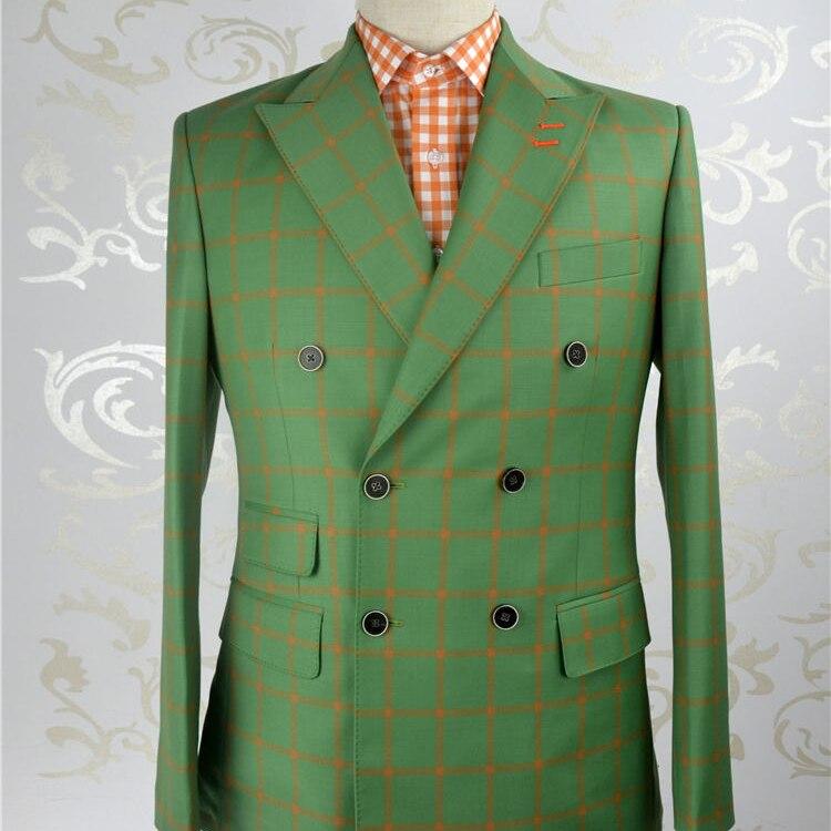 Costume à carreaux vert et orgue 150's en laine peignée de haute qualité sur mesure pour hommes