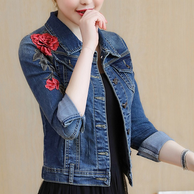 New Embroidery Floral Short Paragraph Coats Autumn Winter Women Denim Jacket Sleeve Female Jeans Coat Casual Skinny Girls Jacke in Jackets from Women 39 s Clothing