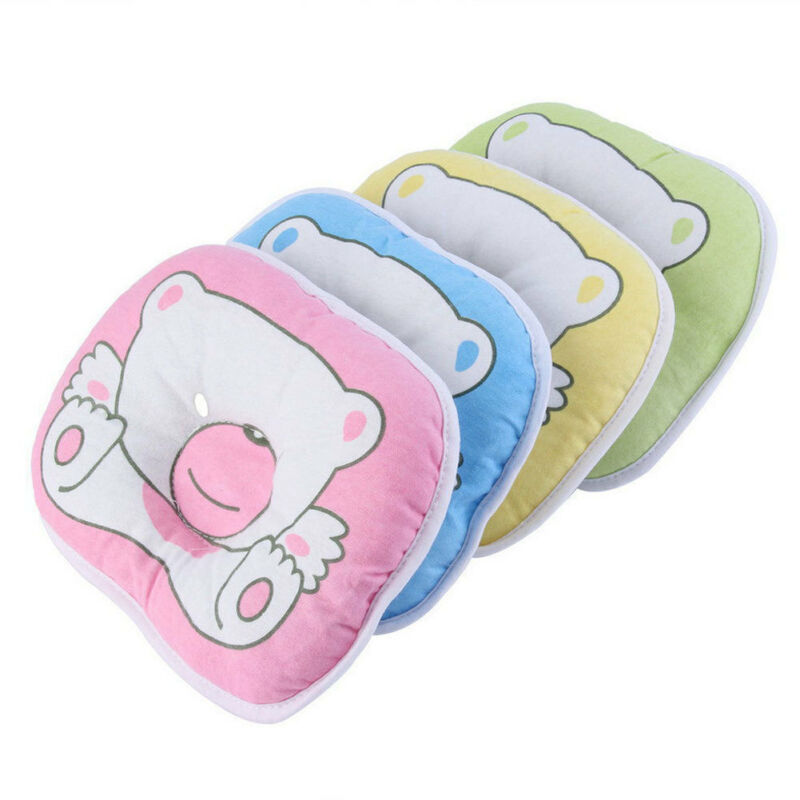 Newborn Baby Infant Anti-Roll Pillow Cartoon Bear Foam Memory Cushion Anti Flat Head Syndrome For Crib Cot Bed Neck Support