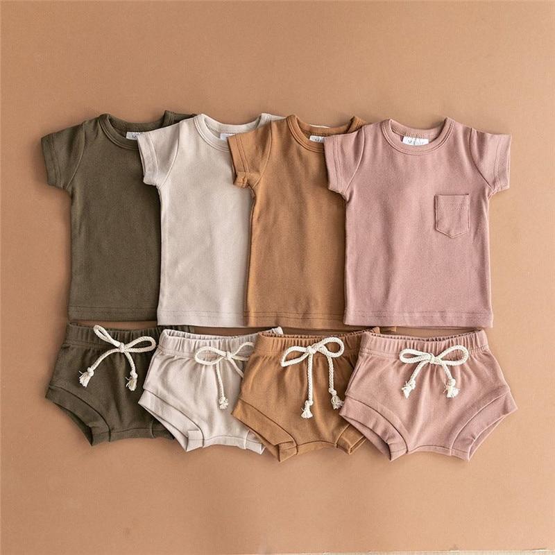 2020 verão da criança do bebê meninos meninas ternos de algodão crianças roupas da menina conjunto recém-nascidos t-shirts tops + shorts treino