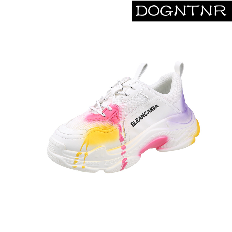 DOGNTNR Sneakers Ladies Casual Shoes Ladies Thick-soled Sneakers Ladies Art Graffiti White Thick-soled Shoes Basket Femme