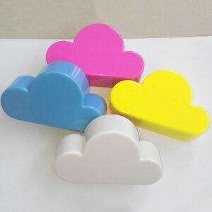 Image 4 - 키 홀더 크로 셰 뜨개질 핑크 옐로우 블루 구름 모양 자석 벽 키 홀더 키 화이트 안전하게 벽 후크/키