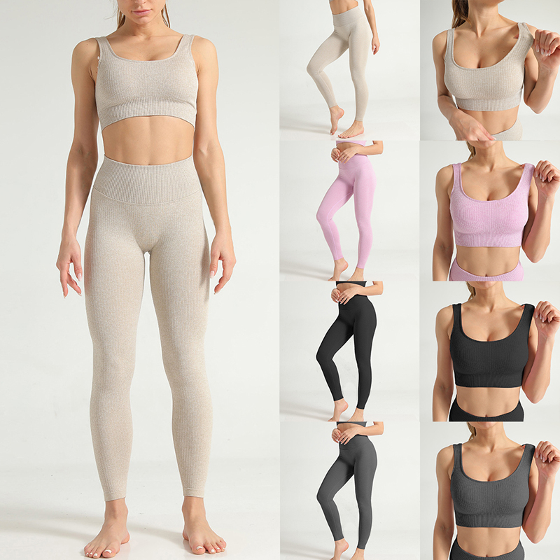 Quick-drying Slim Yoga Set Fitness Tops Hip High Waist Tight Sport Leggings Professional Sport Female Seamless Yoga Fitness Suit