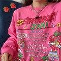 Женский пуловер с капюшоном, Свободный свитшот в стиле Харадзюку с принтом клубники, пуловер оверсайз в американском стиле ретро, 2021