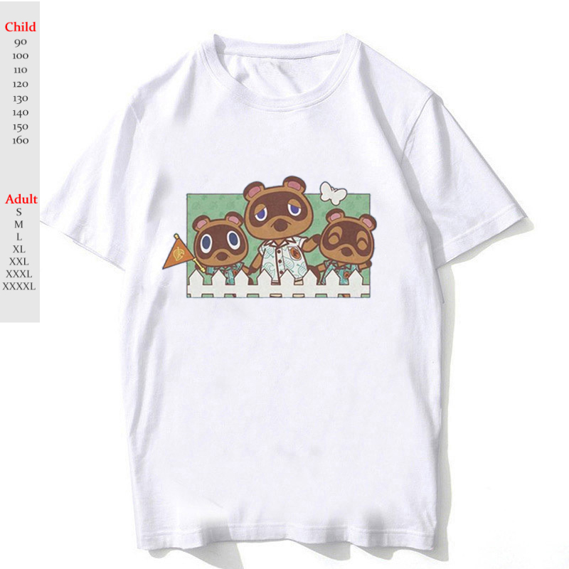 Adult Kids Animal Crossing T Shirt Harajuku Boy Girl Cute Cartoon T-shirt Short Sleeve Children Tshirt Female Tee Shirt Tops