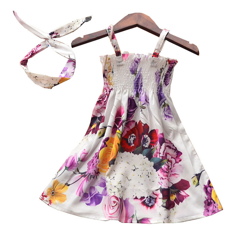 2019 NEW Summer White Flower Printed Dress For Baby Girl Kid Party Boutique Sleeveless Dress For Girl Floral Dress&Headband