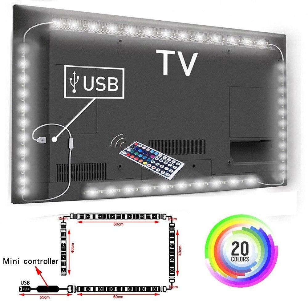 Tira do rgb 5v, luz de fundo da tevê, luz de tira conduzida posta por usb, rgb5050 para 24 Polegada-60 Polegada tevê, espelho, pc, viés do controle do aplicativo