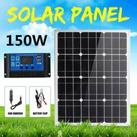 18V Solar Panel 150W Monocrystalline Panel+Car Charger+10A USB Solar Charger Controller for Outdoor Connector Battery Charger