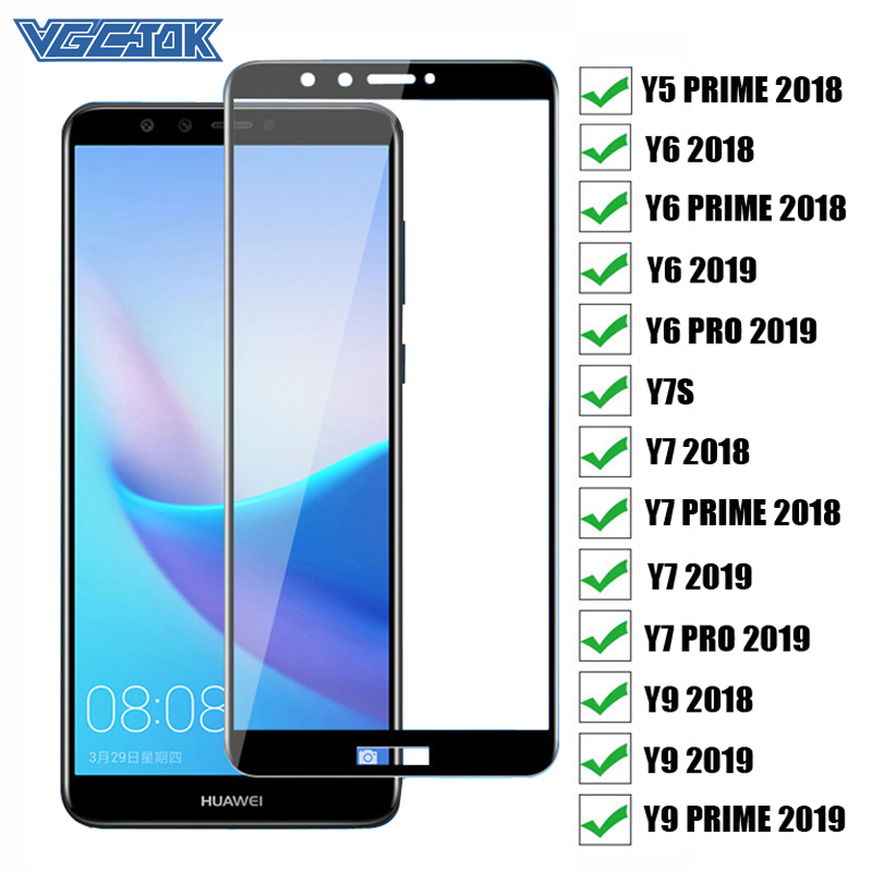 Full Glue Cover Protective Glass For Huawei Y5 Y6 Y7 Prime 2018 Y7S Y6 Y7 Pro Y9 Prime 2019 Tempered Glass Screen Protector Film