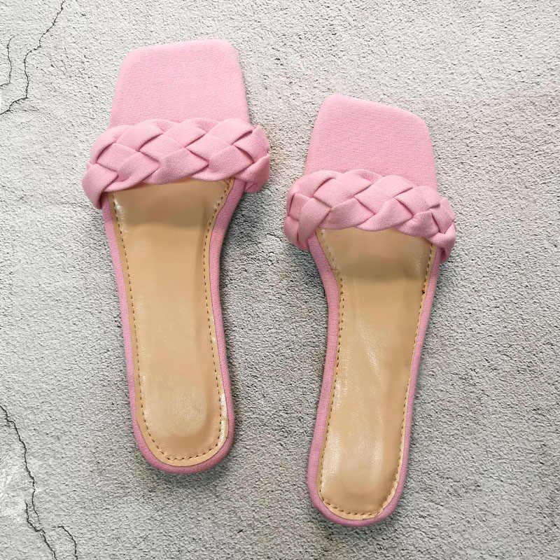 Verão plana com torção chinelos de moda conforto fora sapatos de praia senhoras slides sandálias de verão feminino plus size 37-42