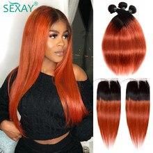 Sexay 1b/350 cabello humano naranja, 4 mechones con cierre, Rubio Dorado de pelo liso brasileño, mechones con cierre
