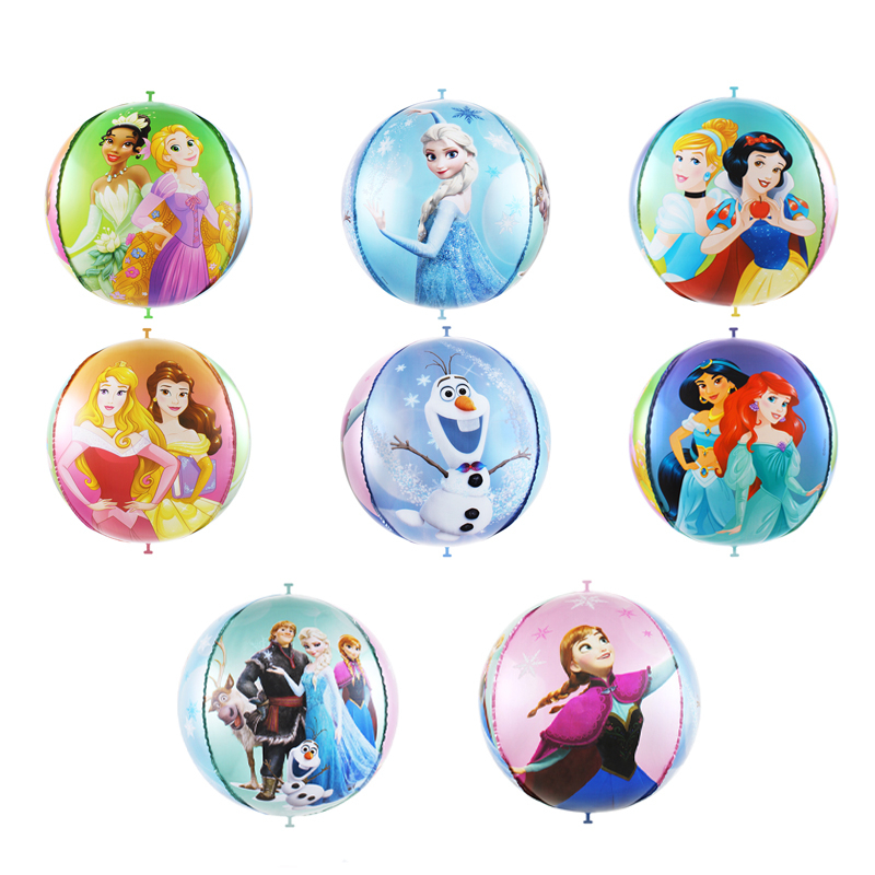 1pc 22inch 4D Princess Foil Balloons Birthday Party Decorations Kids Disco Helium Ballons Baby Shower Globos Wedding Decor