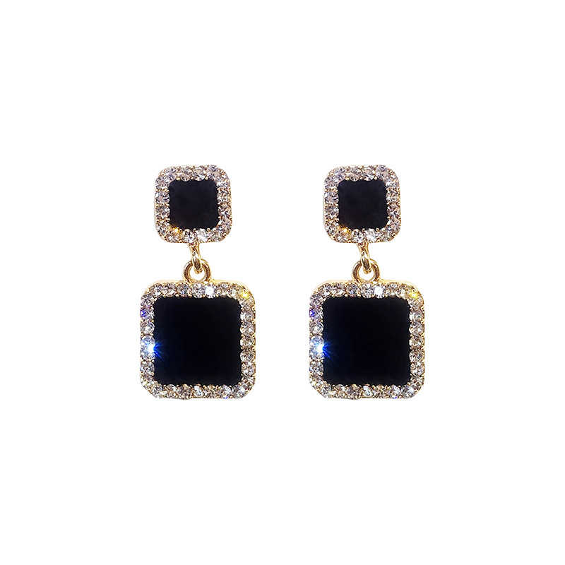 Brincos 2019 preto quadrado geométrico brincos para as mulheres de cristal luxo casamento strass brinco cor ouro eb447