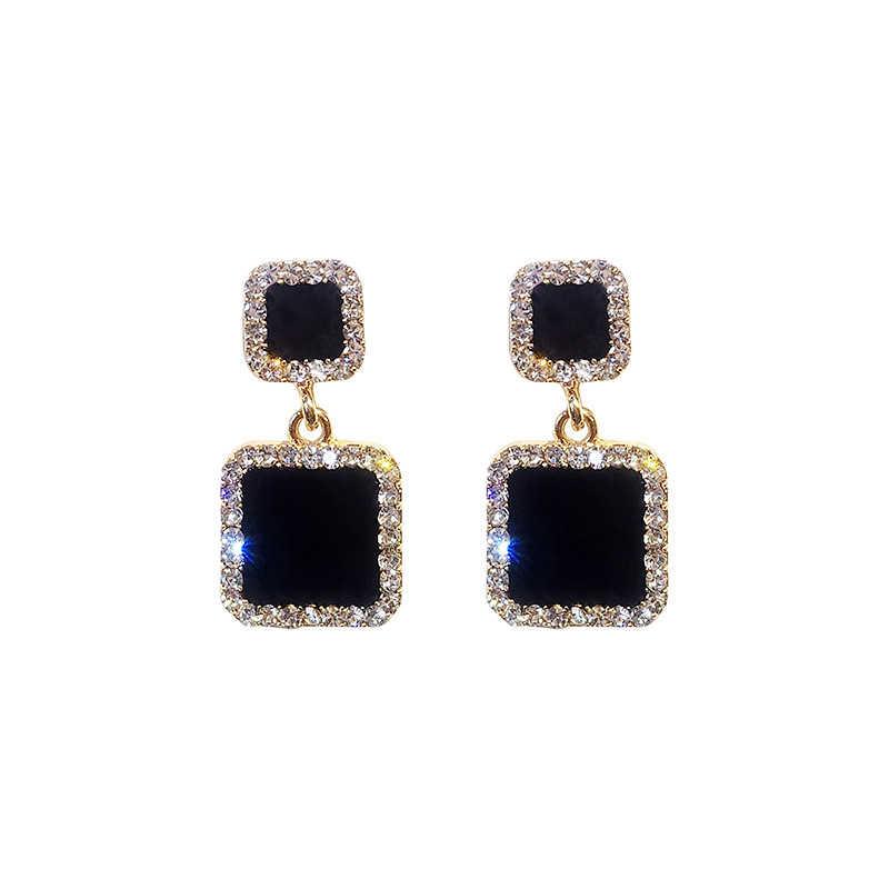 Statement Oorbellen 2019 Zwart Vierkant Geometrische Oorbellen Voor Vrouwen Crystal Luxe Bruiloft Strass Oorbel Goud Kleur EB447