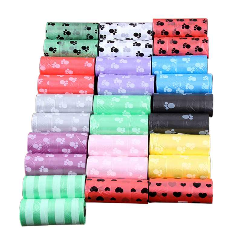 5 Rolls Degradable Pet Waste Poop Bags Dog Cat Clean Up Refill Garbage Bag Bags Outdoor Home Clean Refill Garbage Bag New