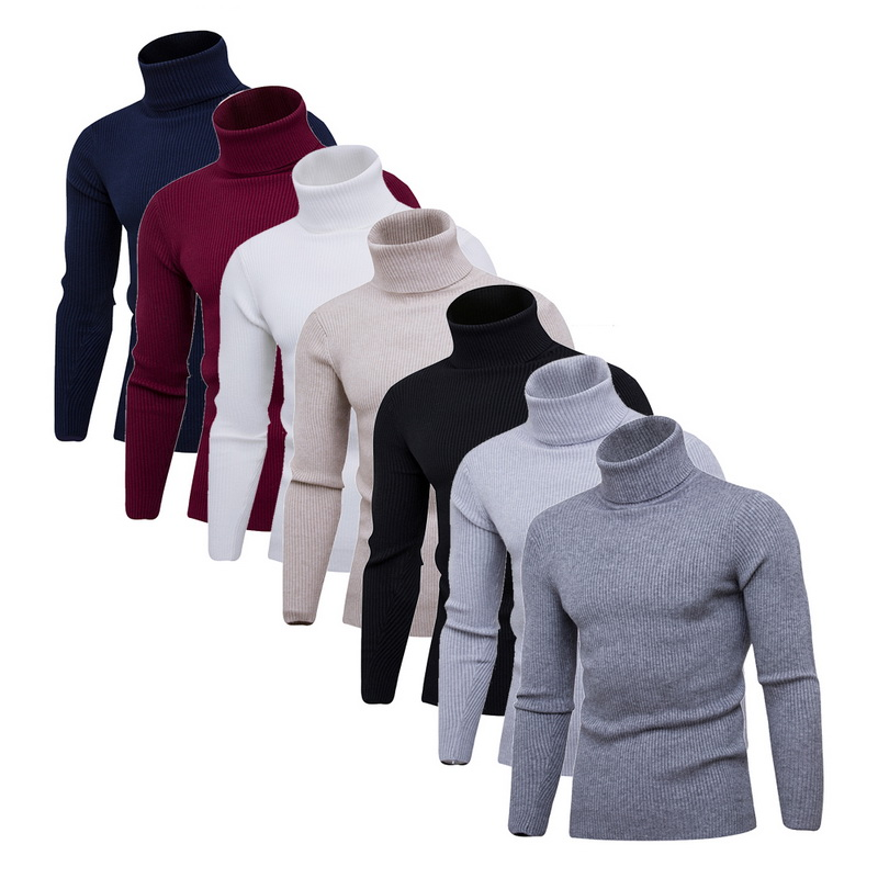 2019 Warm Turtleneck Men Sweater Men Fashion Solid Knitted Mens Sweaters Casual Slim Pullover Male Double Collar Tops