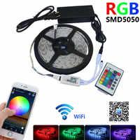 WIFI Светодиодная лента 12 в водонепроницаемые RGB огни 5050 SMD светодиоды лента неоновая лампа Bluetooth 24 ключа контроллер 220 В вход для комнаты ТВ