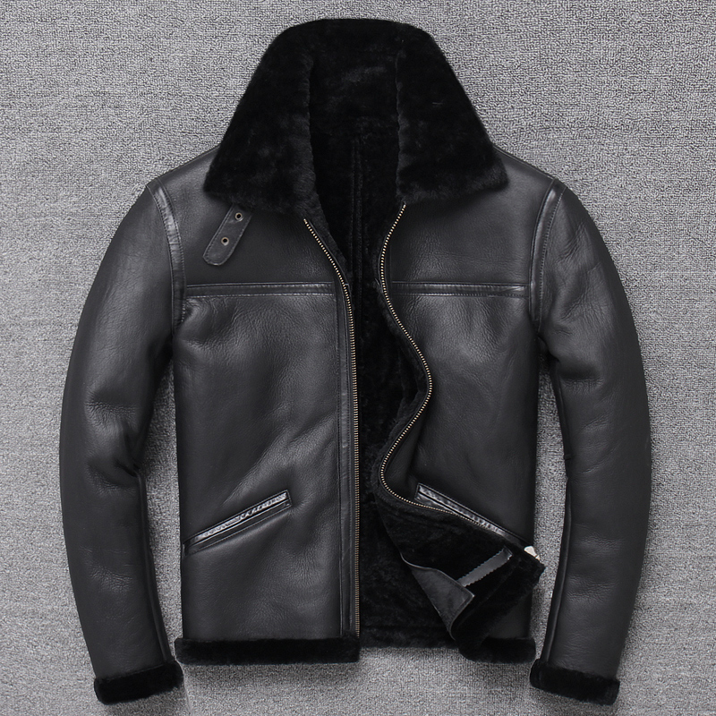 Brand Original Shearling Jacket Genuine Leather Vintage Sheep Leather Wool Jacket Classic B3 Winter Warm Fold-down Collar Coat