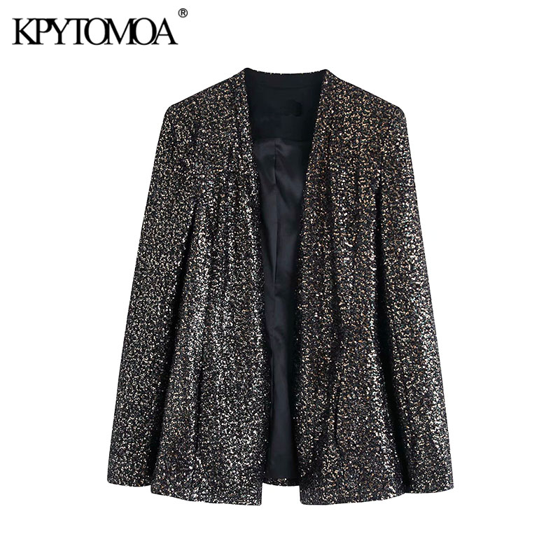 Vintage Stylish Hidden Breasted Sequined Blazer Coat Women 2020 Fashion V Neck Long Sleeve Female Outerwear Chic Tops