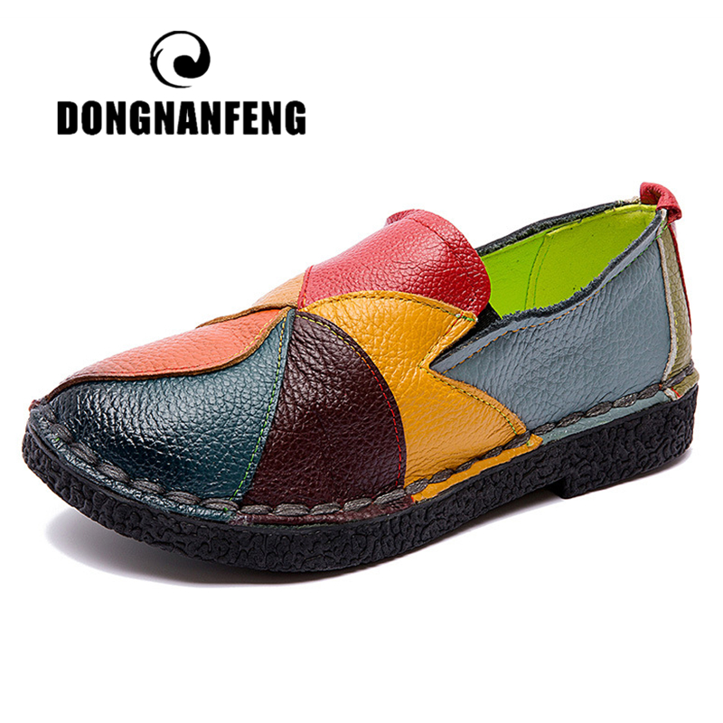 DONGNANFENG Female Ladies Women Mother Genuine Leather Shoes Flats Designer Loafers Slip On Colorful Plus Size 41 42 TB-2098