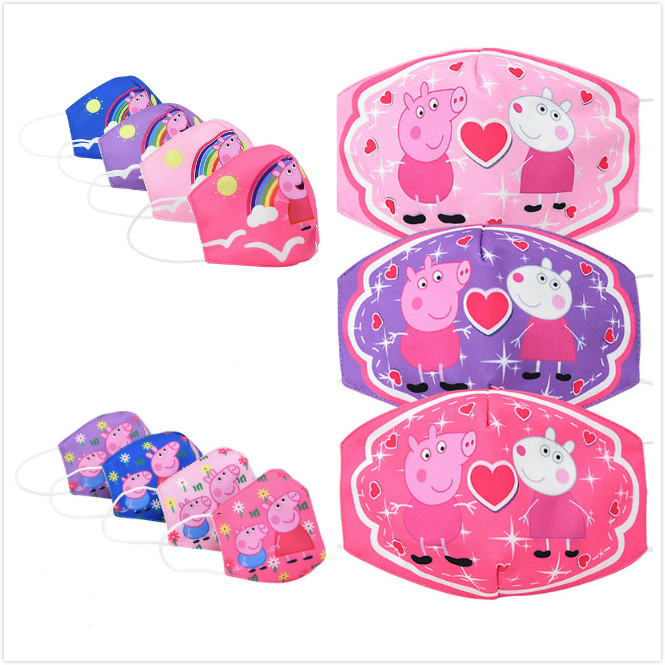 Peppa Pig Children Adult Kids Mouth Face Mask Cartoon Cotton Dustproof Face Mask Keep Warm Women Men Cosplay Toys Anime Figures