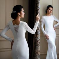 Vintage Mermaid Wedding Dresses 2020 robe de mariee Long Sleeve Wedding Gowns Lace Satin Handmade Bridal Dress Free Shipping