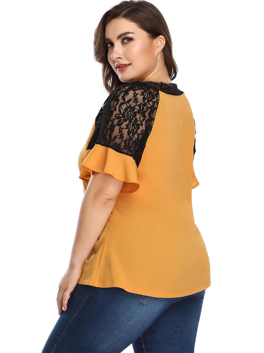 2019 summer plus size chiffon tops for women loose casual lace short sleeve V neck T shirt big size top yellow 4XL 5XL 6XL 7XL
