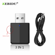 KEBIDU 3 IN 1 Bluetooth Transmitter Receiver Wireless Bluetooth 5.0 Adapter Mini 3.5mm AUX Stereo For Car Music For TV Newest