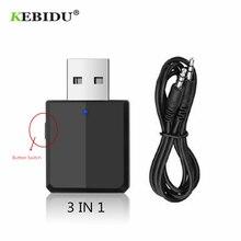 KEBIDU 3 IN 1 Bluetooth verici alıcı kablosuz Bluetooth 5.0 adaptörü Mini 3.5mm AUX Stereo araba için müzik TV yeni