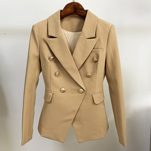 Image 4 - Newest 2020 Designer Blazer Jacket Womens Lion Metal Buttons Double Breasted Blazer Star Style Outer Wear Khaki