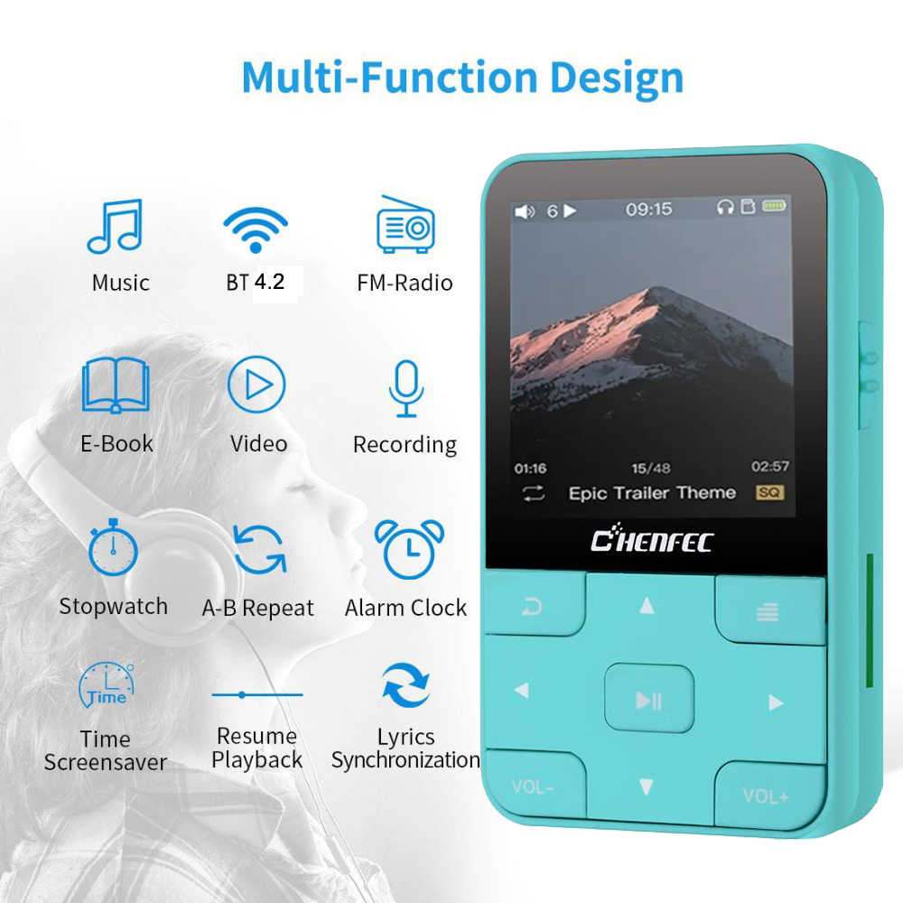 مشغل MP3 كليب جديد مع Bluetooth4.0 HIFI مشغل موسيقى 16GB مع عداد الخطى راديو FM مسجل دعم بطاقة TF + شارة مجانية