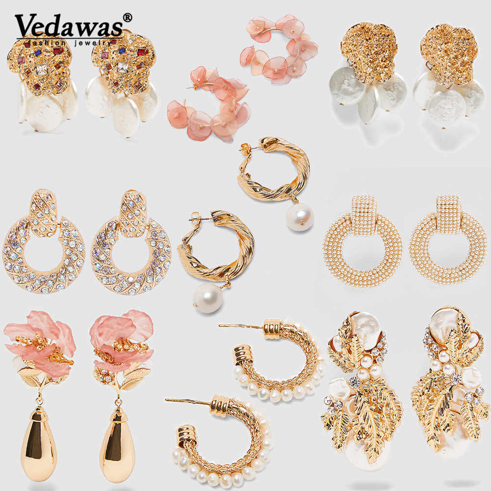 Vedawas  Za Colorful Glass Crystal Statement Earrings Women 2019 Charm Pink Flower Teardrop Drop Earrings Handmade Gifts Jewelry