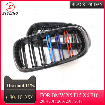 X6 F16 Carbon Front Grille For BMW X5 F15 Front Bumper lip Gloss Black Finish 3 color 2014 2015 2016 2017 2018
