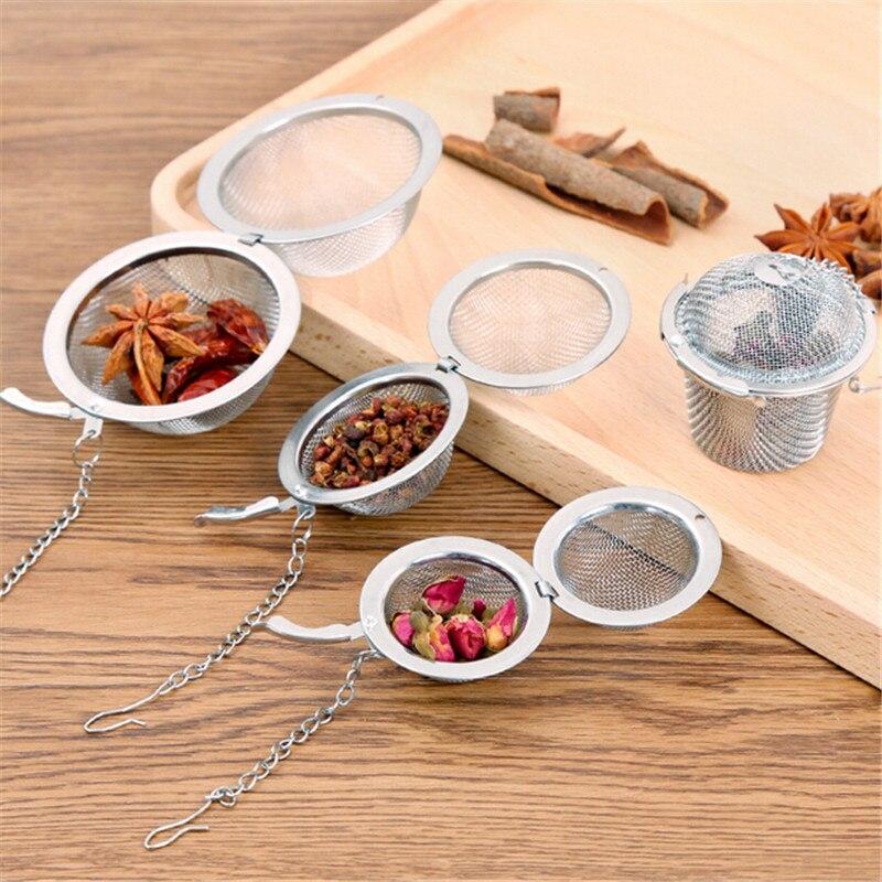 Colador de bola de té de acero inoxidable para especias, filtro de malla, contenedor de hojas sueltas para especias, herramientas de infusión de condimentos, utensilio de cocina para el hogar
