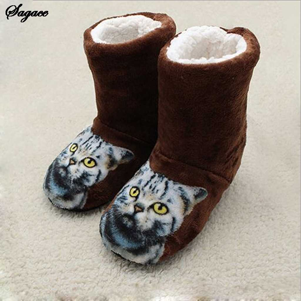 SAGACE Winter Boots Women Flat Cotton Printed Cat Shoes Woman Boot Home Ladies Bootie Snow Boots Women Winter Shoes