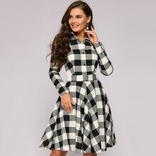 Women Vintage Sashes Plaid Printed Party Dress Long Sleeve Turn Down Collar Eleg