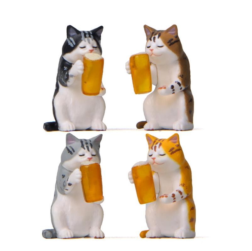 1pc Creative Mini Beer Cat Car Dashboard Decor Cartoon Puppy Micro Landscape Model Doll Figure Toys For Car Ornaments Gifts
