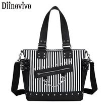 DIINOVIVO Rock Luminous Bag Women Shoulder Rivet Handbags  Female Stripe Crossbody Messenger Canvas Totes Bags WHDV1292