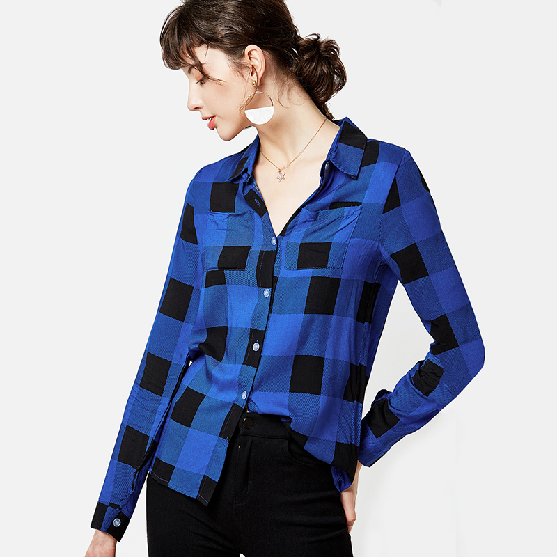 Plaid Blouse Women Fashion Long Sleeve Shirt 2019 Turn Down Collar Office Blouse Casual Shirts Ladies Tops Plus Size Tunic