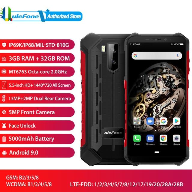 "Ulefone Armor X5 Face Unlocked Mobile Phone Android 9.0 5.5"" Octa Core RAM 3GB ROM 32GB 13MP+5MP Camera Dual SIM 4G Smartphone"