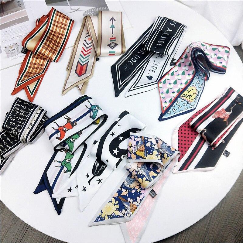2019 Fashion Print Women Silk Riband Handle Bags Scarf Small Ribbon Hair Band Headband Scarves & Wraps Hair Ties For Girls