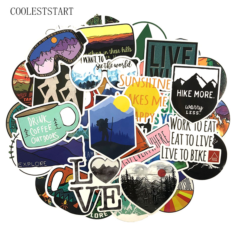 50 Pcs set Interesting Outdoor Adventure Stickers For Motorcycle font b Phone b font Skateboards Laptop