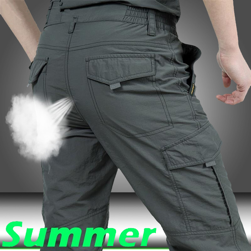Quick Dry Cargo Pants Men Summer Army MilitaryTrousers MenTactical Many Pockets Pants