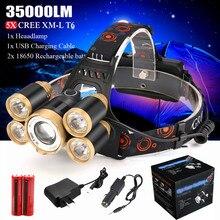 35000лм налобный фонарь 5x CREE XM-L T6 светодиодный налобный светильник вспышка светильник налобный светильник 18650 перезаряжаемый аккумулятор AC Зарядка на открытом воздухе кемпинг