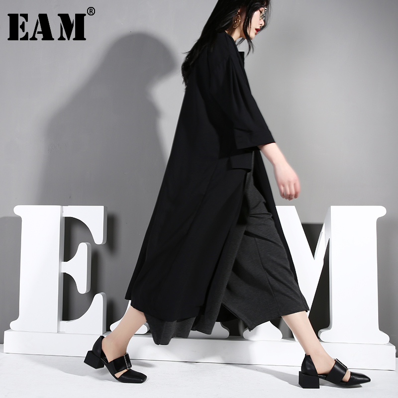 [EAM] Women Black Temperament Leisure Trench New Lapel Long Sleeve Loose Fit Windbreaker Fashion Tide Autumn Winter 2019 U370