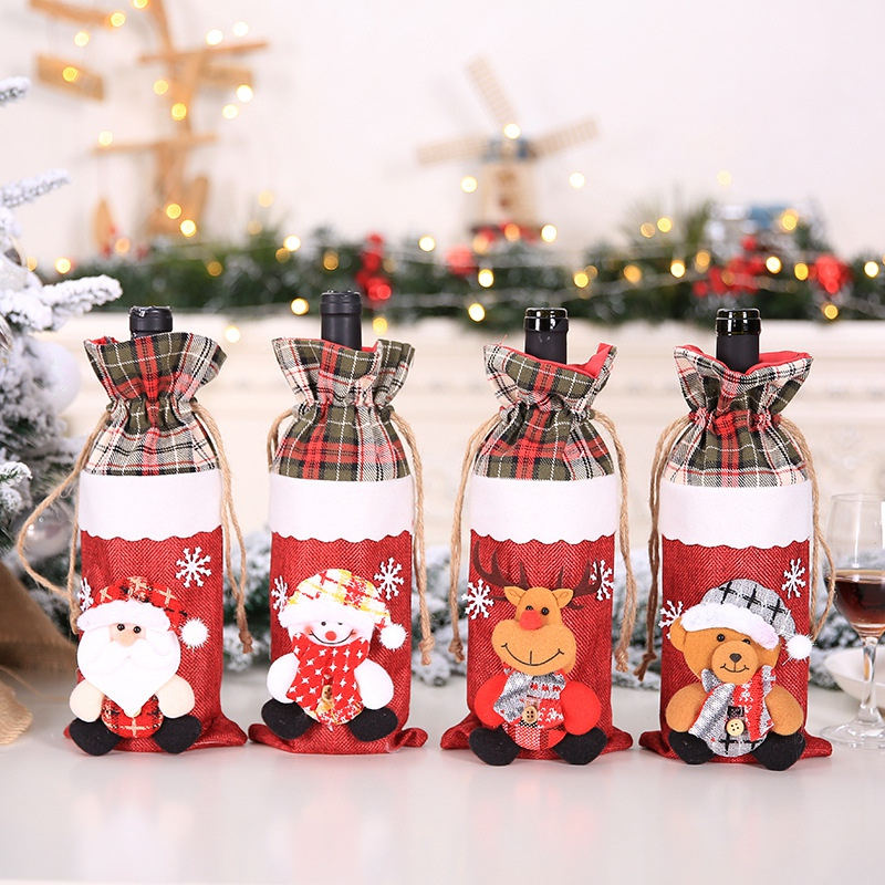 Drawstring Christmas Wine Bottle Cover Bags Holiday Home Party Decoration Santa Claus/Snowman/Elk/Bear