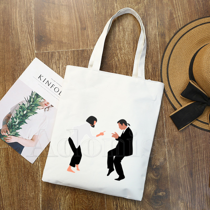 Pulp Fiction Graphic Cartoon Printed Canvas Shoulder Bag Female Harajuku Funny Large-capacity Eco Environmental Shopper Bag