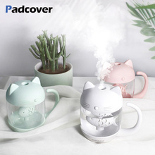400ML Air Humidifier Diffuser Cute Cat Ultrasonic Humidificador for Home Car USB Fogger Mist Maker with LED Night Lamp Mute