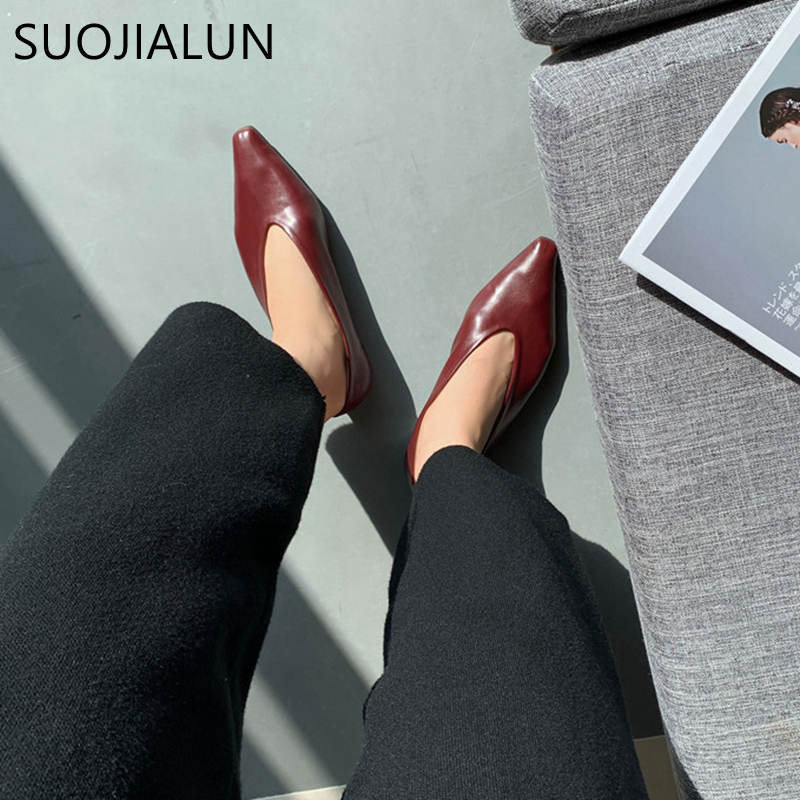 SUOJIALUN 2020 Fashion Brand Women's Flat Shoes Pointed Toe Slip On Ladies Lazy Loafers Casual Shooe Female Flat Ballet Shoes